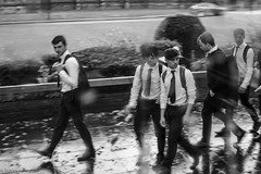School Boys in Belfast (Susan.Johnston) Tags: belfast ireland schoolboys rain blackandwhite