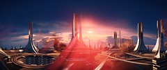 Thessian Goddess (Rina ._.) Tags: mass effect multiplayer firebase goddess sunset flare scifi architecture