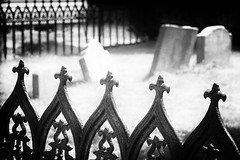 (Un) Happy Fence Friday! (repete7) Tags: stonington connecticut unitedstates us fence hff happyfencefriday cemetery graveyard bw blackandwhite niksilverefexpro mysticseaport ironfence canon canon70d canon1585