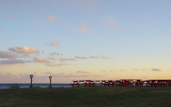 (amy20079) Tags: picnictables sunset newengland maine coinoperatedviewfinder thelobstershack ocean view april