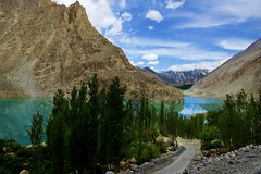 Attabad Lake. (najeebmahmud) Tags: nikon nikond810 nature nikkor2470mm landscape light lake lines rocks road reflections trees tree old river mountains mountainside awesome asia pakistan blue bluesky green emerald water white wow karakoram highway holiday bluewater clouds colorful d810 hills torquoise sky snow summer serene