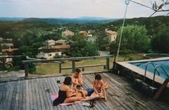 Friends (leslieperche) Tags: summer light clouds blue sky analog film kodak canyon mountain landscape swimingpool swim friends ardeche