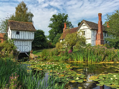 2016 Brockhampton - Summer Day (Birm) Tags: blue sky brockhampton manor house medieval nationaltrust english summer august sunny garden quaint green lilly moat flowers water gate reeds herefordshire landscape