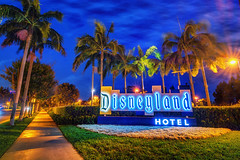 Disneyland Hotel (Matt Valeriote) Tags: hdr disneyland disney californiaadventure downtowndisney disneylandhotel night sign palmtrees lights glow