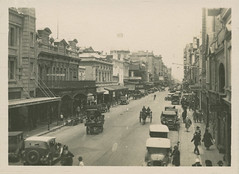 Rundle Street (City of Adelaide) Tags: adelaide cityofadelaide cityofadelaideciviccollection rundlestreet rundlemall adelaidearcade townacre83 townacre84 townacre85 cars horses storefronts pedestrians shoppers