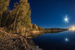 Autumn Night (Taavi Salakka) Tags: canon 5d canon5d zenitar 16mm 28 night lake saimaa lappeenranta finland kaukas moon stars sky water strand trees landscape fisheye