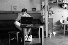 Not watching any indecent here (nchaiphuong) Tags: black white rooke laptop cafe milk tea
