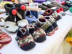 Upcycled wool sweater booties by Linda Ballard, Cleo Coats (marketkim) Tags: newproduct eugene oregon saturdaymarket festival artfair eugenesaturdaymarket artfestival