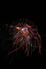 Wild and Crazy (musicaleyesight) Tags: blue red orange color green oklahoma yellow rainbow long exposure purple fireworks 4th july sparkle explosions edmond edmondoklahoma