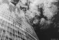 Clouds Reflection (KLAVIeNERI) Tags: blackandwhite reflection clouds highrise gap15 leicaforum leicax1 leicaimages ilovemyleica photographersontumblr