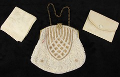 3007. Beaded Evening Bag with Mirror & Handkerchief