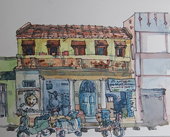 Motorcycle Repair, Bangalore (Mallika_Mohini) Tags: watercolor bangalore motorcycle locationdrawing urbansketching