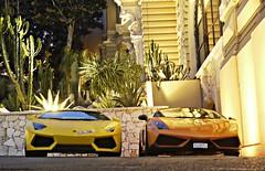 Monaco Nightlife. (Niklas Emmerich Photography) Tags: worldcars imbackfrommonacoandsawsoamazingcarsthisphotowastakenatthebuddhabarbehindthecasinobuddhabar monaco2012aventadoorlamborghiniyellowdubaii700470045704570gallardoperformanteorangemonacolightningnightsummerjulyfrancespottingmontecarlospydernaturesupercarhypercarmattematt