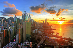 Beautiful Sunset with blue sky in Hong Kong (b80399) Tags: china blue sunset sky sunrise island hongkong bay harbor highway asia harbour central victoria hong kong causeway admiralty