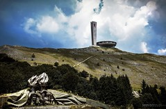 Buzludzha () and its Hands (KamrenB Photography) Tags: old red sky mountain monument up star hands ruins battle mount communist bulgaria socialist turkish brutalist shipka bulgarian  kamgtr