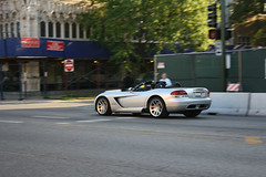 Viper (Flint Foto Factory) Tags: auto city summer urban chicago motion car silver illinois movement construction automobile muscle north detroit broadway july fast bank convertible american dodge intersection viper edgewater icm 2012 publiclibrary roadster srt elmdale rwd feelsgood rearwheeldrive worldcars intentionalcameramovement