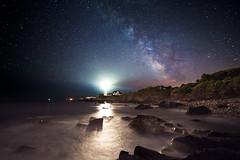 Illuminated (moe chen) Tags: park lighthouse seascape water way portland stars landscape nikon rocks elizabeth williams fort head maine cape milky meteor d800