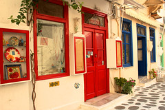 traditional shops (Katrinitsa) Tags: red summer colors shop canon landscape island mediterranean aegean efs1855mm greece paros cyclades paroikia magrippi
