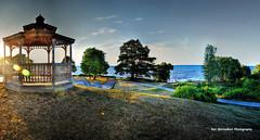 the gazebo at charles daley park (Rex Montalban Photography) Tags: sunset panorama nikon gazebo lakeontario stitched hdr jordanstation charlesdaleypark d7000 rexmontalbanphotography pse9 concertmusicseries