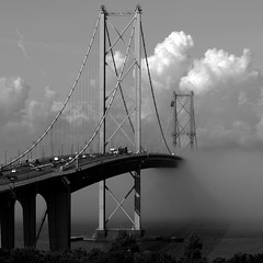 Road Bridge Haar (Gerry Hill) Tags: road bridge bw white mist black water fog river scotland nikon harbour south bridges forth coolpix firth firthofforth queensferry forthroadbridge haar 9100 s9100