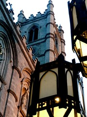 Notre Dame (pilechko) Tags: street light color tower cathedral montreal notredame lamps oldcity