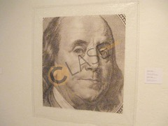 3. La muestra de Sergio Nates consta de 14 grabados de personajes históricos que han quedado plasmados en papel moneda