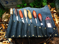 A leather tool pouch/roll (fishfish_01) Tags: leather spoon carving tools carve tool spoons bushcraft carvingtools