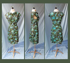 Vintage Dark Floral Dress (Movie Star Moon) Tags: blue black flower green floral vintage neck 60s aqua pattern fifties large 50s emerald sixties sheath neckline weighted cowl