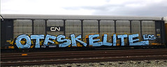 Otesk Elite (GraffStoleMyLife) Tags: railroad art metal train graffiti pacific graf union elite spraypaint bnsf freights autorack reefers fulltrain otesk