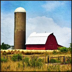 Red Barn with Silo, Bales, and Fences (keeva999) Tags: summer painterly texture rural nikon farm country barns iowa silos bales hff roundbales sarahgardner distressedjewell d3100