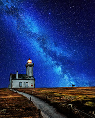 the lighthouse of heaven ( David.Keochkerian ) Tags: lighthouse france night way star brittany bretagne milky nuit phare toiles milkyway belleileenmer pointedespoulains