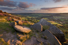 Curbar Millstone (Paul Newcombe) Tags: uk sunset summer england countryside nationalpark rocks village derbyshire peakdistrict sigma wideangle august millstone british peaks 1020 sidelight curbaredge britnatparks