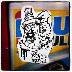 POOR KID (billy craven) Tags: chicago graffiti sticker handstyles slaptag poorkid uploaded:by=instagram