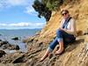Fleur at Waiti Bay (russelljsmith) Tags: winter sea newzealand dog sun beach fleur smile smart sunshine lady scarf coast sand bella sundaydrive firthofthames 77285mm waitibay