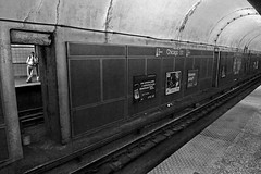 Chicago - Illinois (luca marella) Tags: city travel urban bw usa white man black monochrome station america train underground subway blackwhite luca united platform pb bn e states bianco nero marella marellaluca