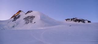 Base del arista final antes de llegar a Dufourspitze