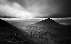 A River Runs Through It (Black and white) (Liam McFadden) Tags: mountains scotland glencoe munros hillwalking rannochmoor meallabhuiridh criese camghlean