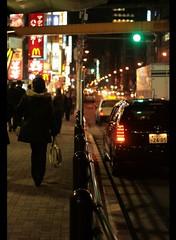 night @ Tokyo #1 (_nejire_) Tags: 745am night tokyo street car woman walking trafficlight trafficlightisgreen light neon 50mm 50mmf18 niftyfifty canonef50mmf18 canoneos400d abigfave