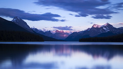 Maligne Lake Sunset small (andrewpmorse) Tags: longexposure sunset canada mountains water clouds canon dark alberta jaspernationalpark malignelake 6d alpineglow leefilters bigstopper lee09ndgradhard