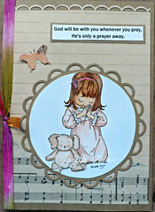 He's only a prayer away. Greeting Card. (janettefuller) Tags: handmadegreetingcard handmade empraying teddybear prayer praying sympathycard momanning mosdigitalpencil zigscleancolorbrushmarkers watercolor spellbinders christiangreetingcard music hymnal