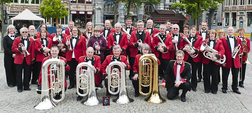 The band pose for a photo in Ghent after our second concert of the tour
