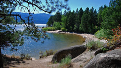 Afternoon at The Lake (mariagrandi985) Tags: water waterforlife waterfront lakebeach beach beautifullandscape greenbeautyforlife pinetrees mountains rocks landscapewithrocks blue bluesky green landscape cascadelakeidahousa outdoor composition perfectcomposition mariagrandi985 september22016