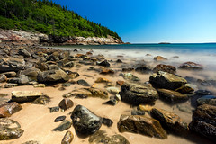 Sand Beach (The Burgys) Tags: landscape acadia nationalpark acadianationalpark maine mountdesertisland mdi rocks granite trees sony a99 sonya99 zeiss zeiss1635 wideangle summer sandbeach sand beach longexposure bluesky tripod polarizer