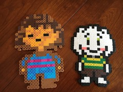 Asriel and Frisk from Undertale (greatandlittle) Tags: perlerbeads game sprites undertale asriel frisk