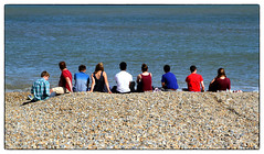 On the horizon (Stephen Braund) Tags: candid suffolk sea pebble youth