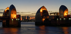 Thames Barrier at dusk with Canary Wharf and O2 Arena in background (jim_2wilson) Tags: london architecture jimwilson nightscene longexposure thamesbarrier dxoopticspro tamron2875mmf28 sonya99