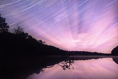 Reflections in the Dark (Ben Lockett) Tags: 1740l 5d canon reflections lightpollution colours stars dark woodland reservoir lake pool knypersley landscape pink sky night startrails