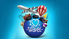 Travel (davidbarcomb001) Tags: 3d abroad advertising aircraft airplane bag baggage balloon blue boat briefcase camera collection colorful concept design destination editable element flying globe hat holiday illustration isolated journey love object plane poster realistic season sign sky suitcase sunglasses tour tourism transportation travel traveler traveling tree trip vacation vector voyage world