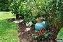Pitchers In The Beds (~ Liberty Images) Tags: garden gardentour libertyimages peaceful green verdant flowers flowergarden lovely life creation nautical beachy tinyturtle pitcher pottery turquoise accent