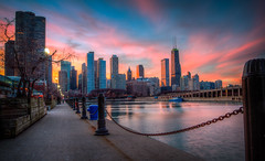 Chicago (Zak Yanez) Tags: december dad sunset 7d pier chicago orange clouds pinky blue streetlight yellow weekend downtown navy parents winter water city canon7d longexposure cold lights magenta mom navygraduationweekend skyscrapers wood night buildings trees sky canon hdr
